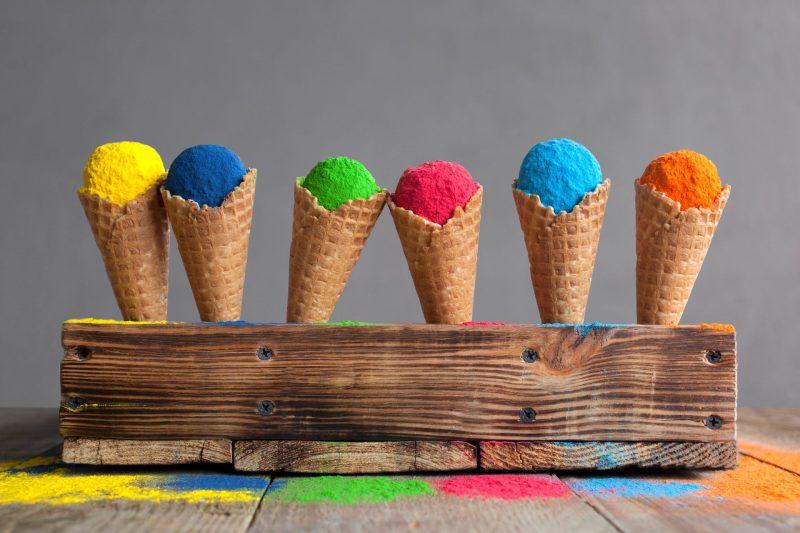 sorvetes coloridos para quem quer aprender ingles