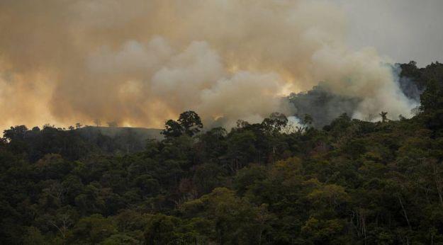 Um incêndio no bosque de Pozuzo, em Peru.