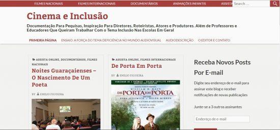 Acesse: http://cinemaeinclusao.com.br/. Imagem: Reprodução