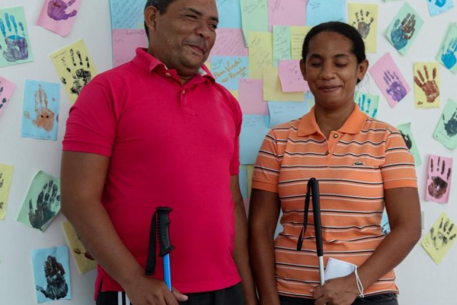 O casal de professores José e Gricel no abrigo Rondon 2