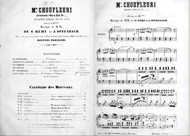 1re de couverture de la partition de l'opéra-bouffe Monsieur Choufleuri restera chez lui le... de Jacques Offenbach 1861