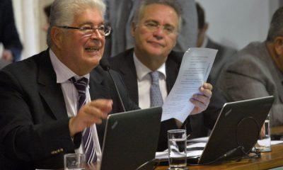 O senador Roberto Requião, durante leitura de relatório que define os crimes de abuso de autoridade. Foto: Cadu Gomes
