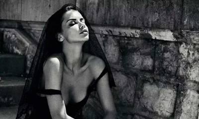 Adriana Lima encarna viúva sexy em ensaio para revista
