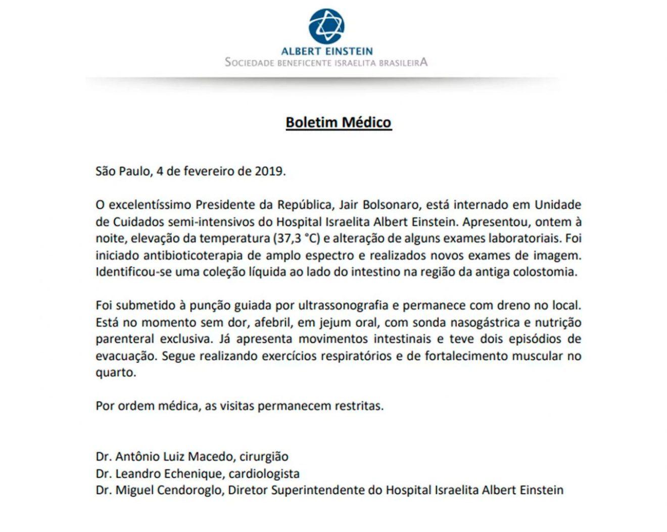 Bolsonaro coloca dreno e segue com sonda nasogástrica, diz boletim médico. Foto: Reprodução