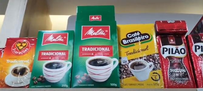 Entre os produtos brasileiros exclusivos da Kibom tem os cafés Melitta e 3 corações.