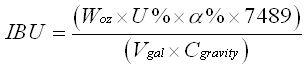 Formule de calcul des IBU dans la bière - Approximation de Jackie Rager