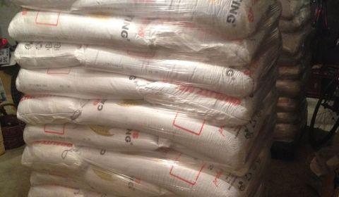 Les palettes de malt reçues bien amballées de la malterie du chateau en Belgique