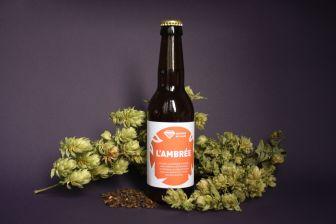 L'ambrée photo avec malt et houblon - photo étiquette de bière - Mirco-brasserie du Vallon Alsace