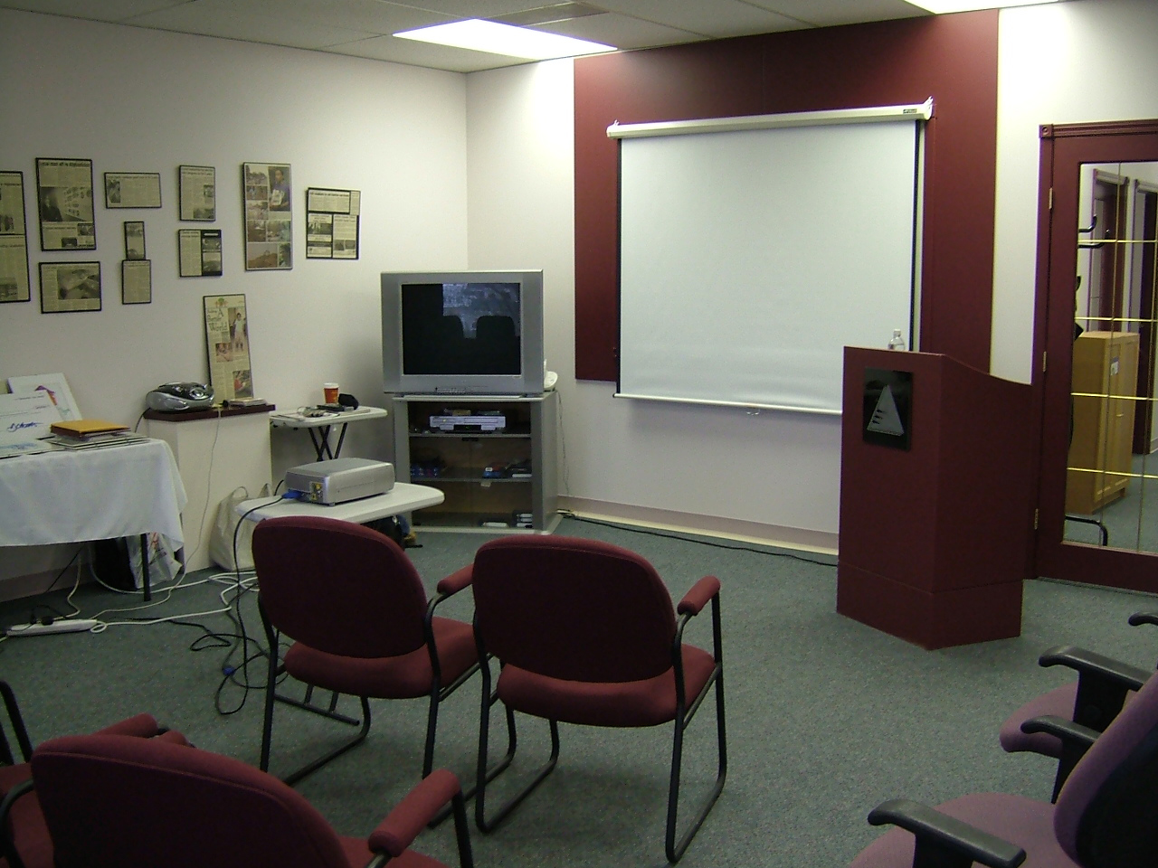 The front of the room