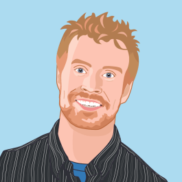 Sean Arnold Avatar Image with blue background