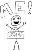 stick figure with me/my brand