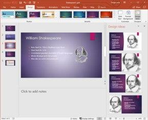 PowerPoint Design Ideas options