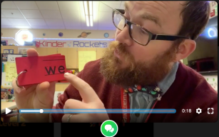 Ben Cogswell, a kindergarten teacher in Salinas, Calif., in a still of a Flipgrid video he made for his students