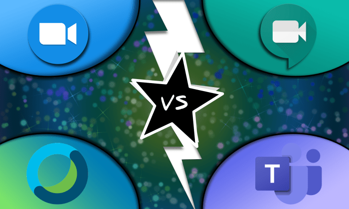 Web meeting logos and a vs. star