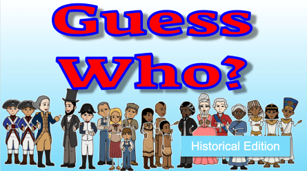 Guess Who historical edition with historical figures standing around