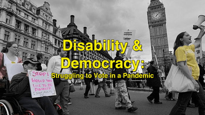 Disability and Democracy text in front of protesters