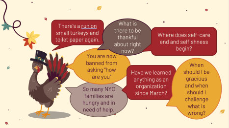 A series of questions about thankfulness beside a turkey