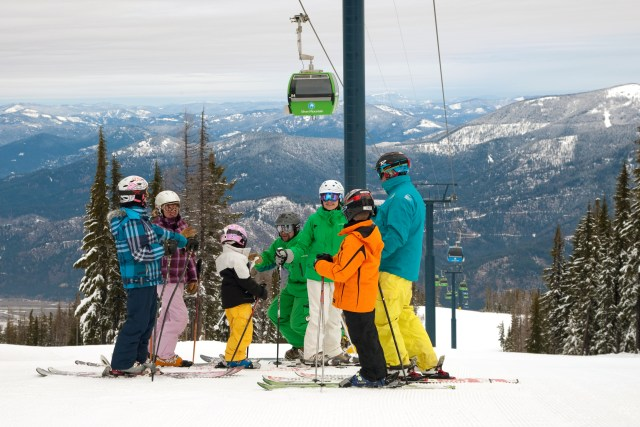 family skiing silver mountain