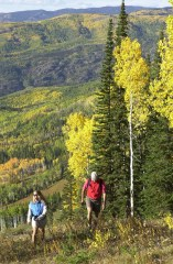 a couple hiking uphill through an aspen grove in fall at steamboat resort colorado