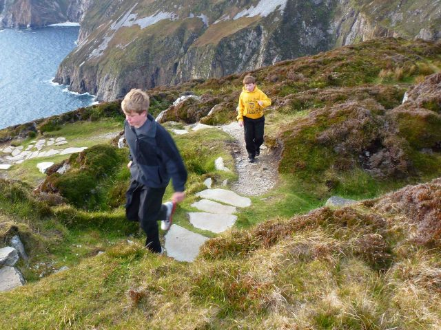 hiking on a sea cliff sliab leagh ireland