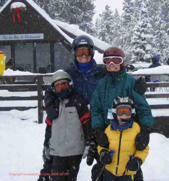 family skiing crested butte
