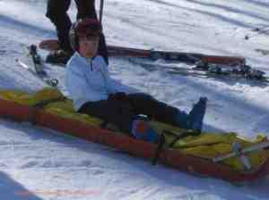 ski accident sunlight