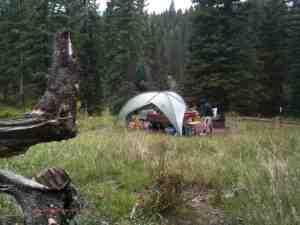 camping in rain cimarron mountains colorado