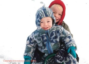little kids in snow