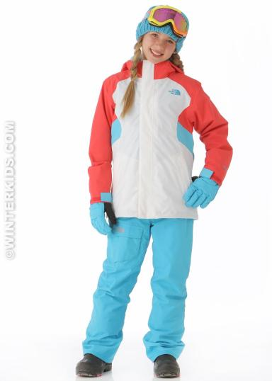 winterkids.com The North Face Girls Fallon Triclimate Jacket in White/Teaberry Pink.