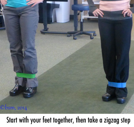 zig zag walking ski exercise