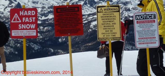 ski safety signs at mammoth