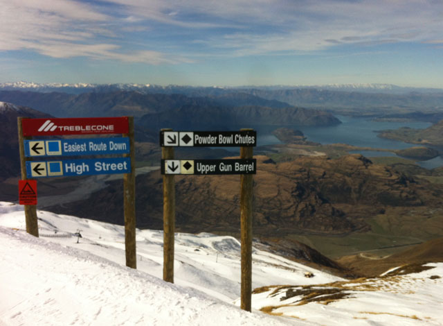 ski run signs treble cone new zealand