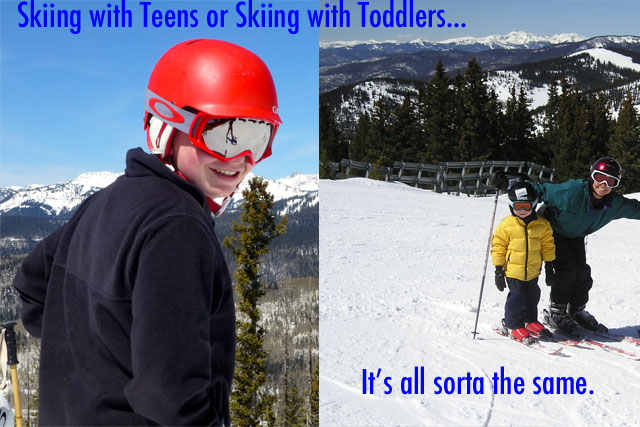 toddler to teen skiing