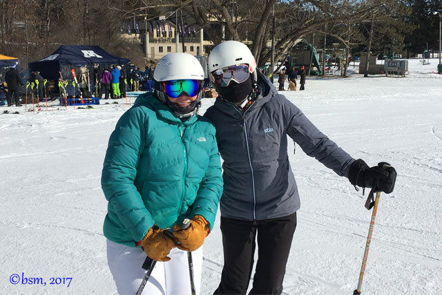 two ski moms enjoying a ski day at afton alps minnesota