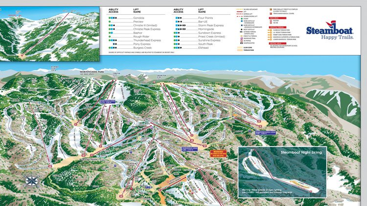 steamboat winter ski map