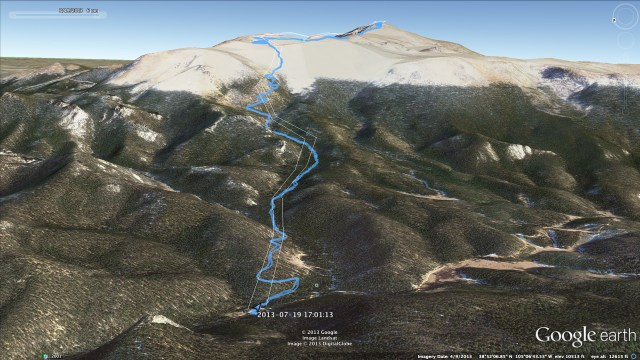 google earth image of barr trail on pikes peak