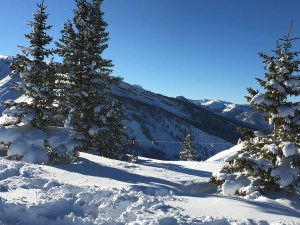 deep snow on a sunny january winters day snowmass colorado