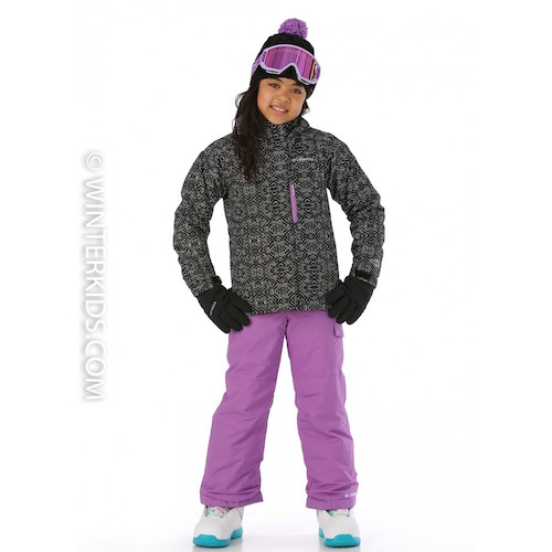 Columbia Girls Magic Mile Jacket in Black Digi Lines