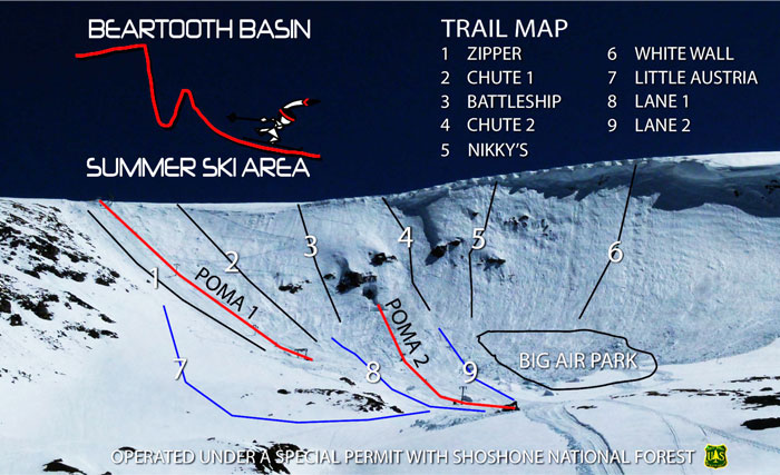 beartooth  basin summer ski area trail map