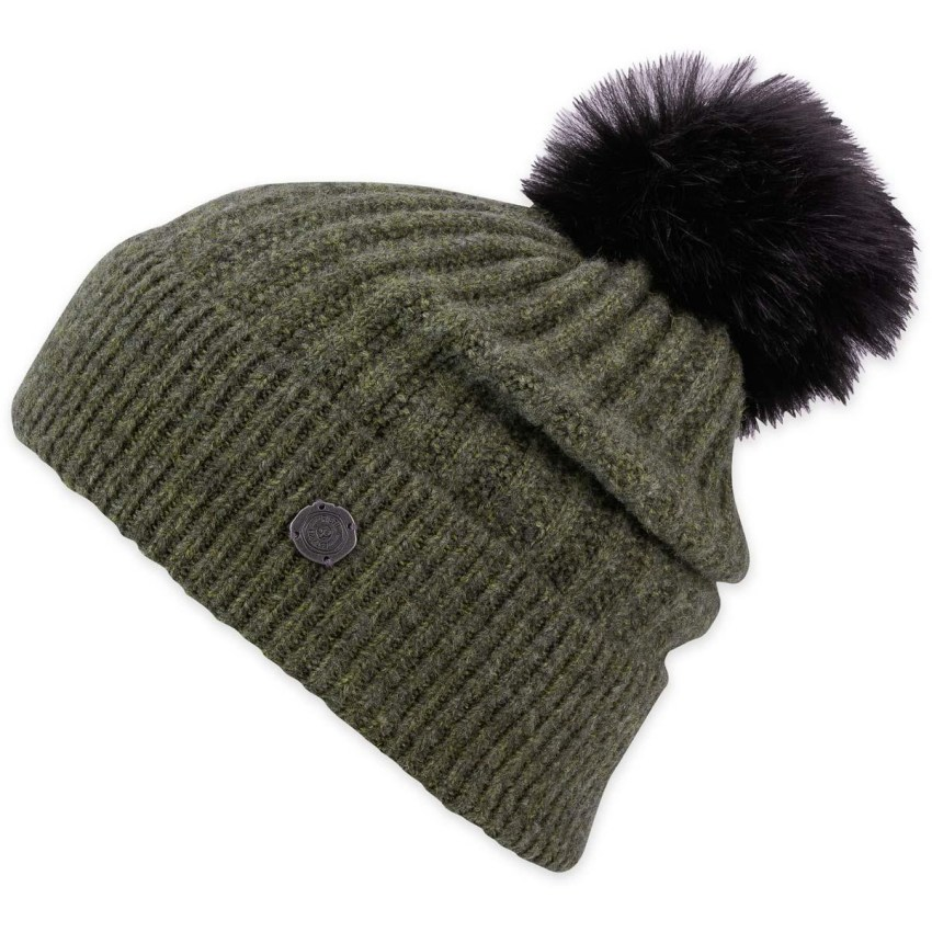 A green ribbed knit beanie with removable pompon from Pistil.