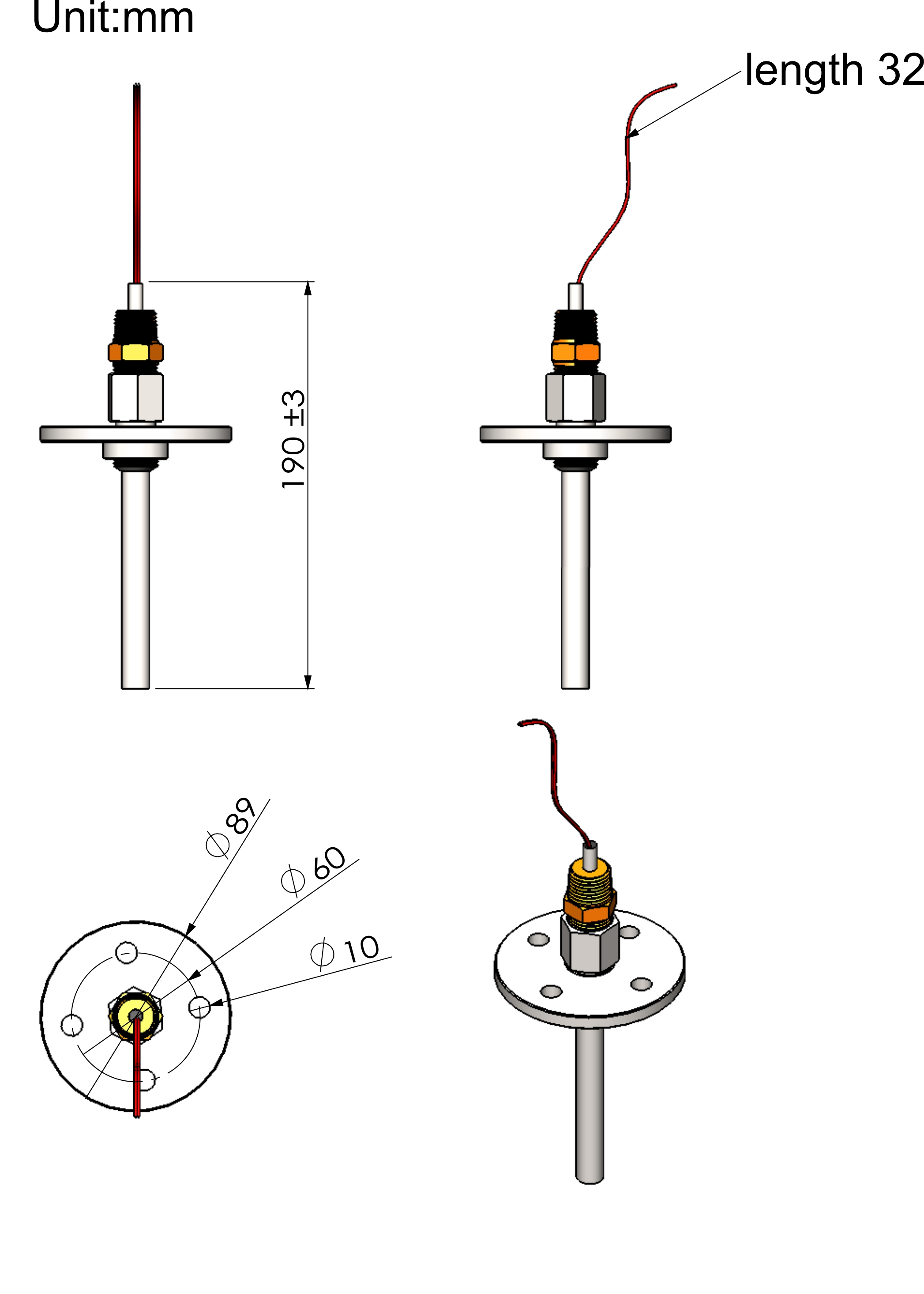 Boiler Stack Temperature Sensor And Thermowell 1k Pt