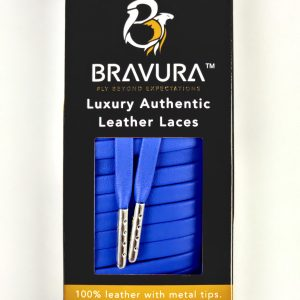Blue Leather Laces with metal plated tips