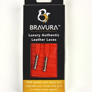 Red Leather Laces with metal plated tips
