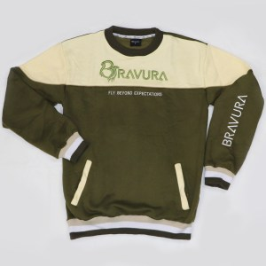 Army Green Crewneck sweatshirt with front pockets by Bravura