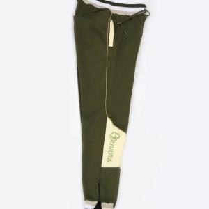 Army Green sweatpants with pants leg zipper by Bravura