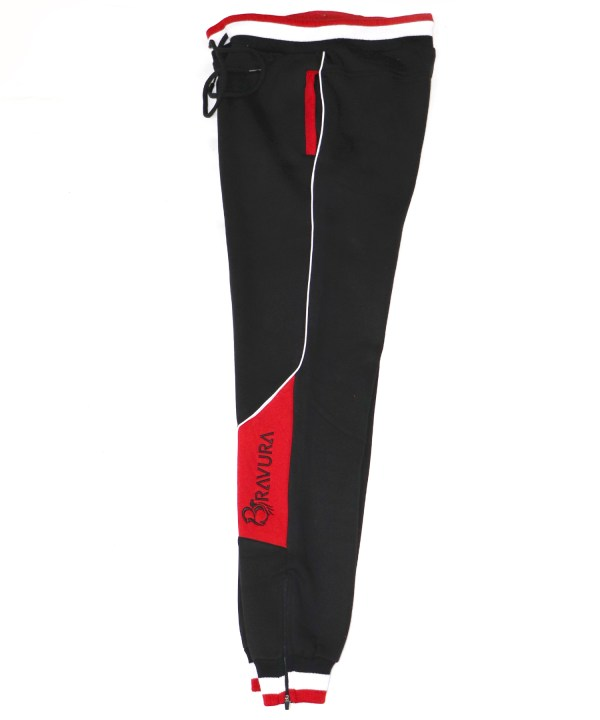 Black and Red sweatpants with zipper at the pants leg for extra comfort by Bravura