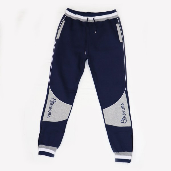 Navy Blue sweatpants with zipper on the bottom pants leg for extra comfort