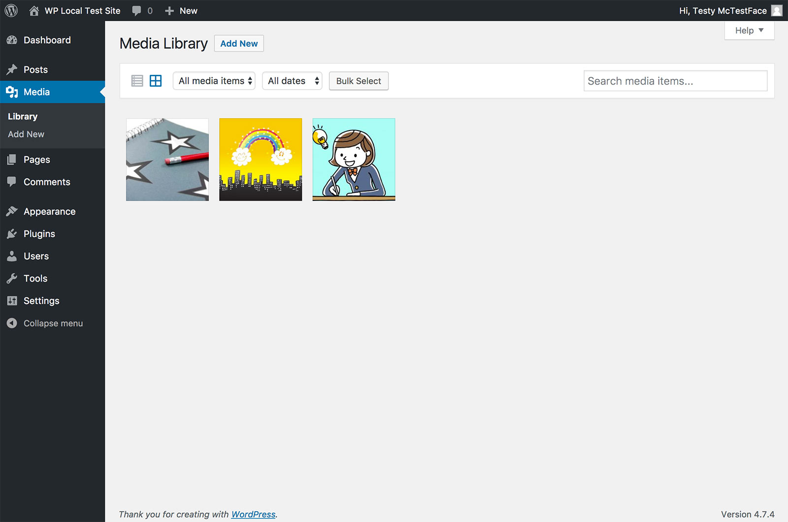 Screenshot showing a user who has uploaded three images to the media library