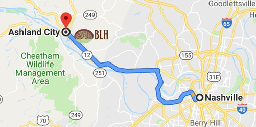 Nashville to Ashland City Map
