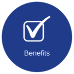 Blue circle with the check mark symbol with the word benefits below